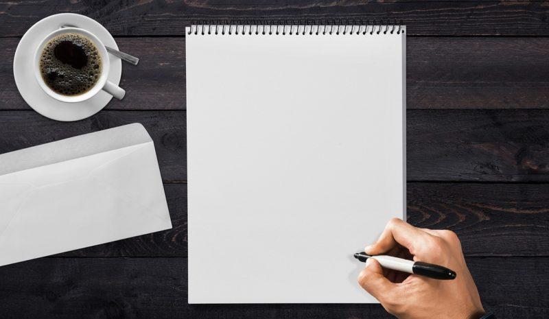 ノートに文章を下書き