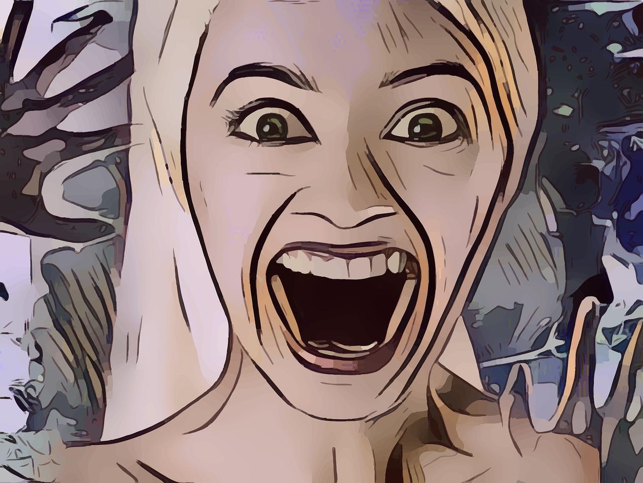 怒り呆れ顔の女性のイラスト