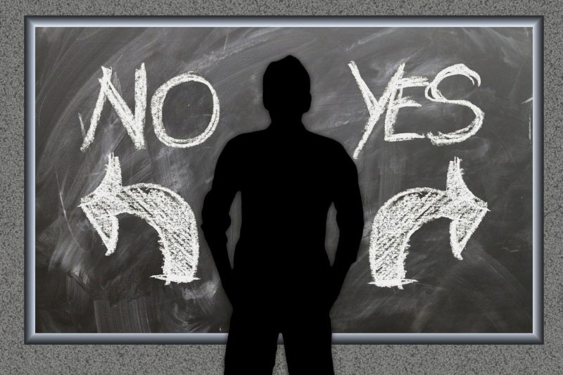 会社を辞める辞めないをYesとNoで表現したイメージイラスト