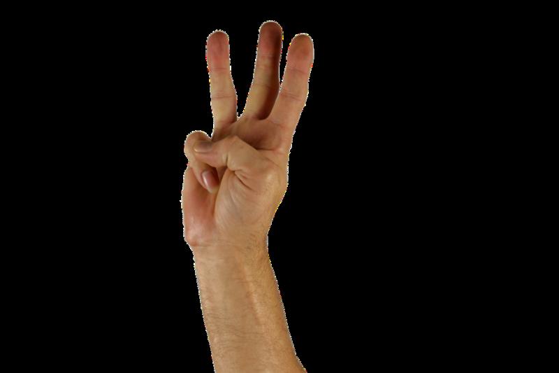指で3を表す