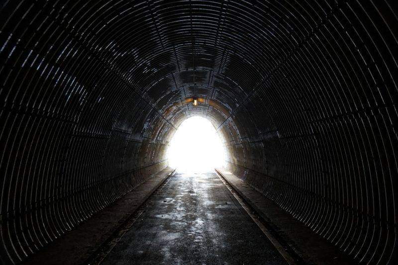 期間の長さを感じさせるトンネルの中から出口を臨む