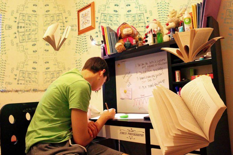 勉強を教えてもらおうとしている男子学生
