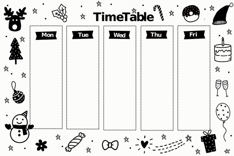 空白の週刊スケジュール表